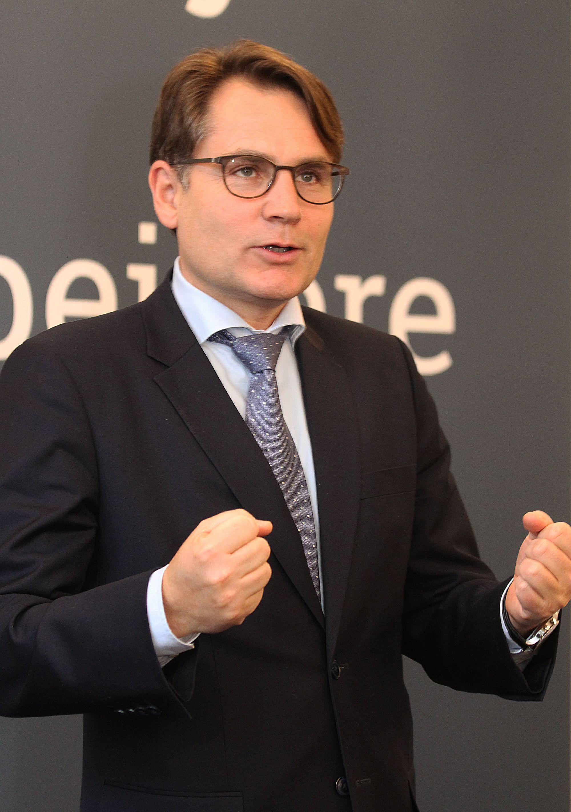 Erhvervsminister Brian Mikkelsen. Fotograferet 1. feb. 2017 ved Netcompany's fejring af medarbejder nr. 1000.