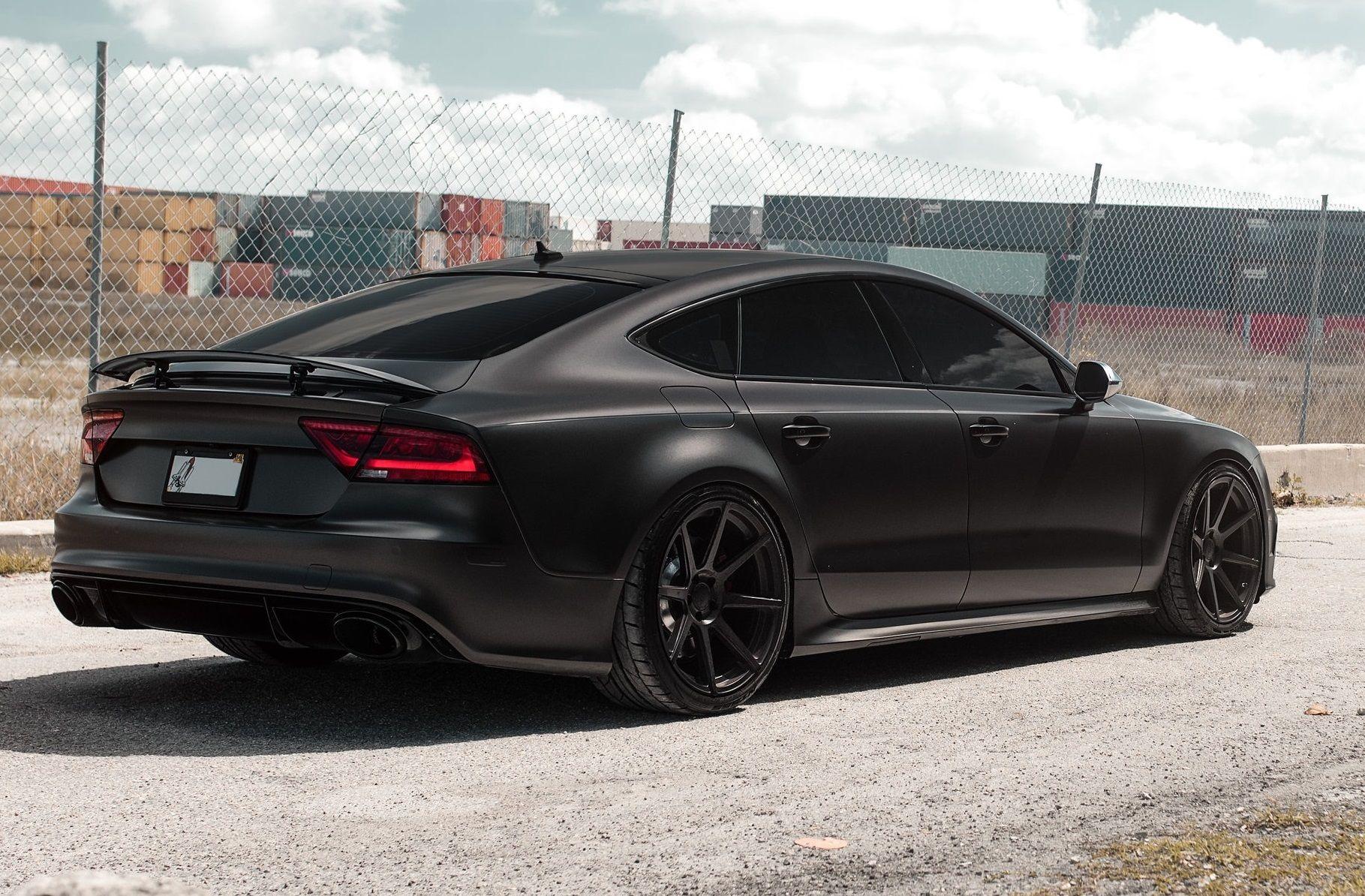 Matt Black Audi Rs7 On Velgen Wheels Black Audi Audi Dream Cars