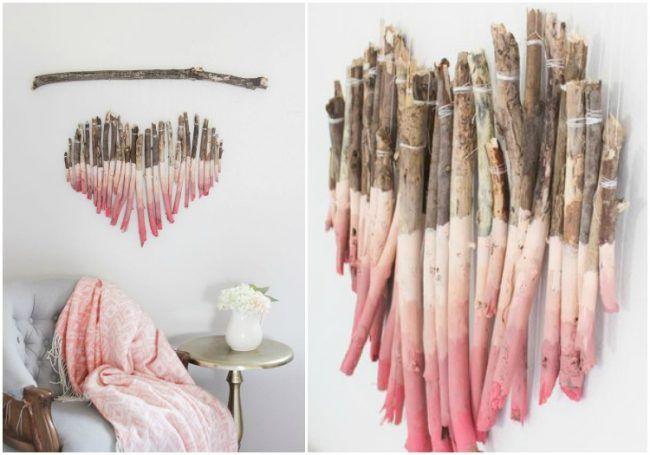 basteln mit sten und zweigen diy wanddeko herz ombre. Black Bedroom Furniture Sets. Home Design Ideas