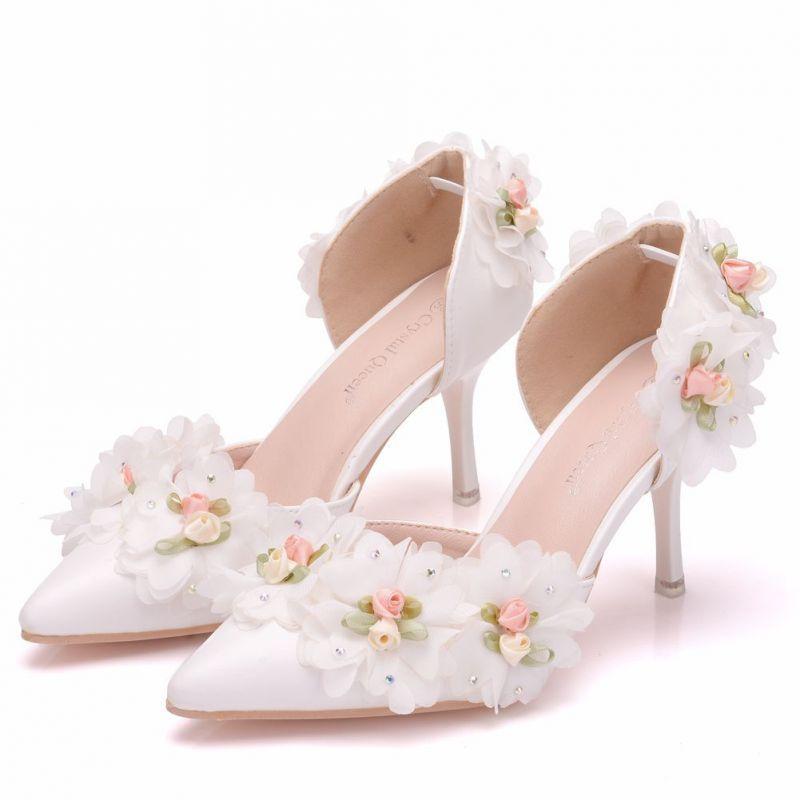 Eleganckie Biale Buty Slubne 2018 Aplikacje Rhinestone 8 Cm Szpilki Szpiczaste Slub Wysokie Obcasy White Wedding Shoes Valentino Wedding Shoes Wedding High Heels