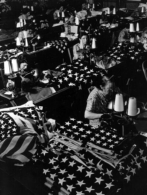 U.S. Women making flags at a factory in Brooklyn, New York July 24, 1940.
