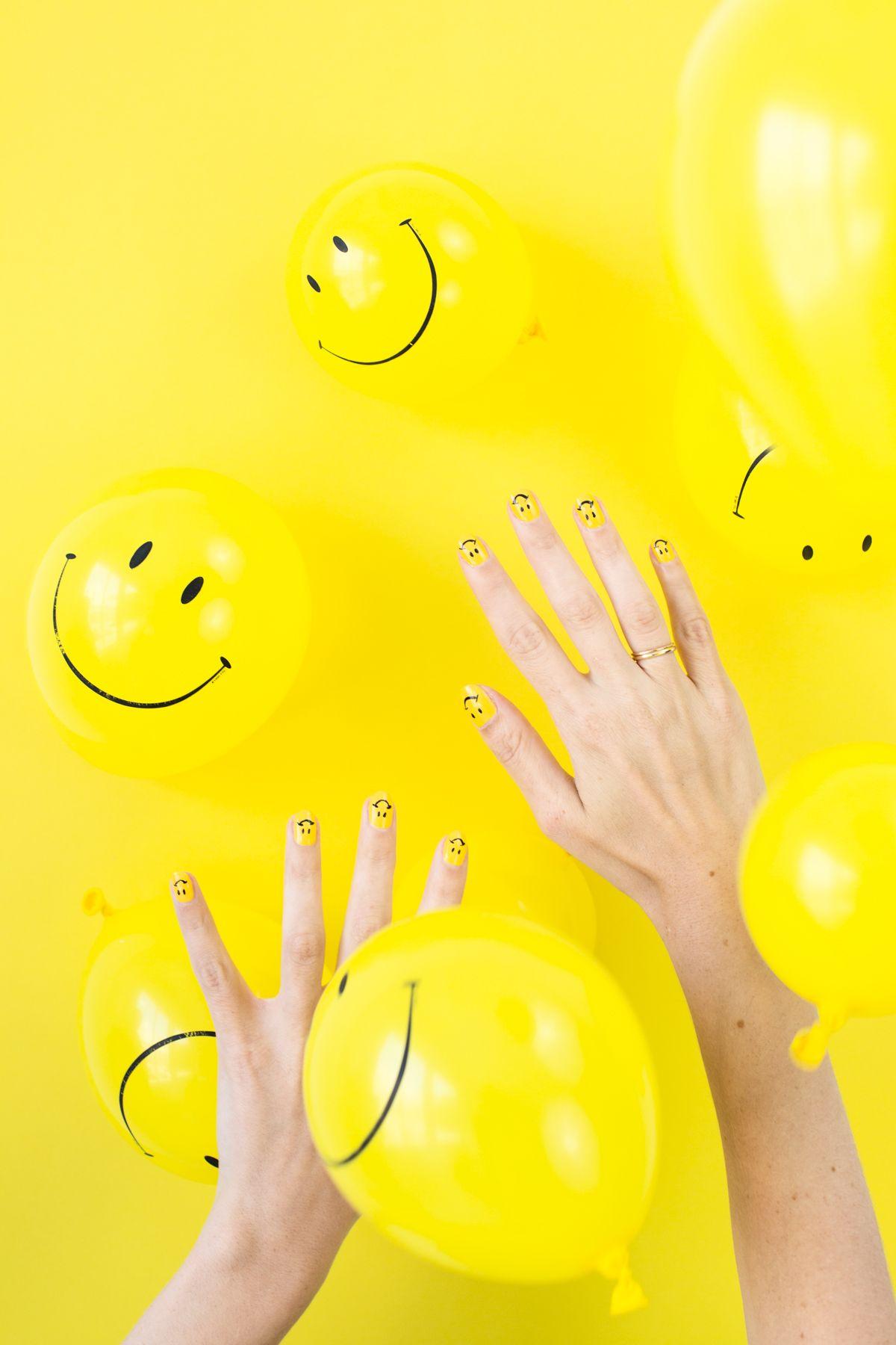 Watch DIY Happy Smiles Nail Art video