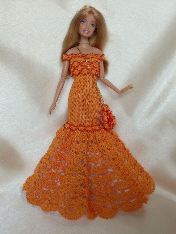PDF Elegant Dress pattern English by Barbiecrochet on Etsy   Muñecas ...