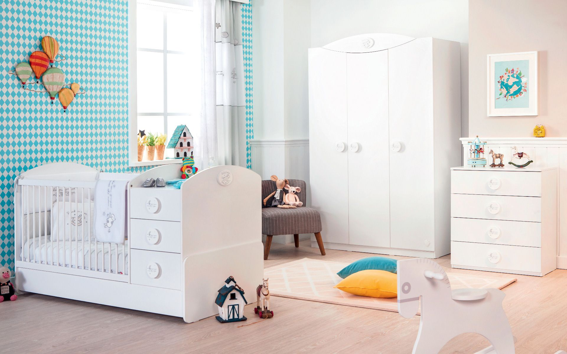 Cotton Baby Wardrobe With 3 Doors Modern Nursery Themes