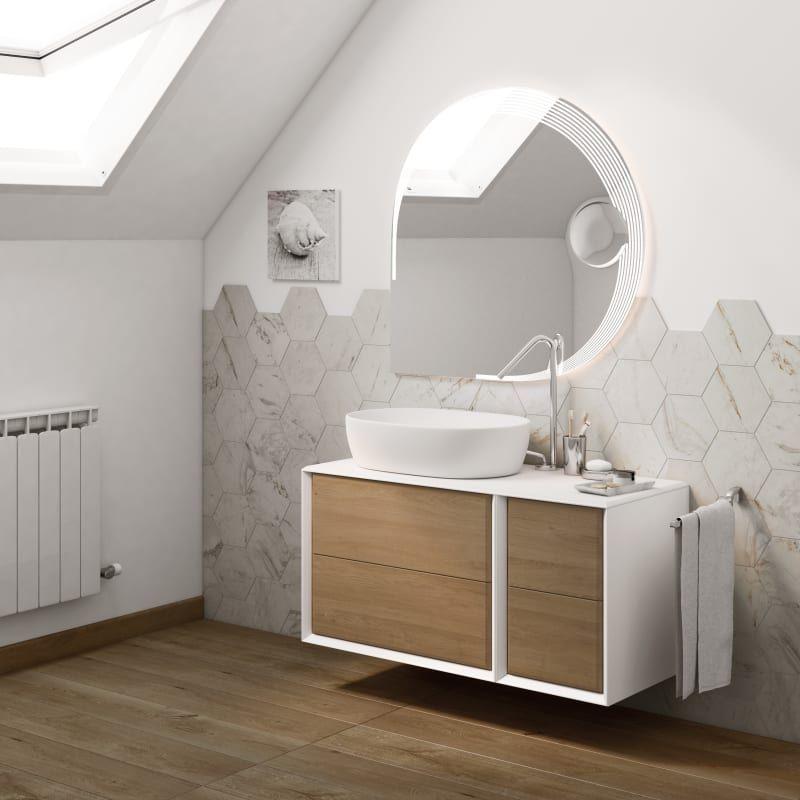 Mobile bagno Bellagio bianco e rovere L 105 cm nel 2020