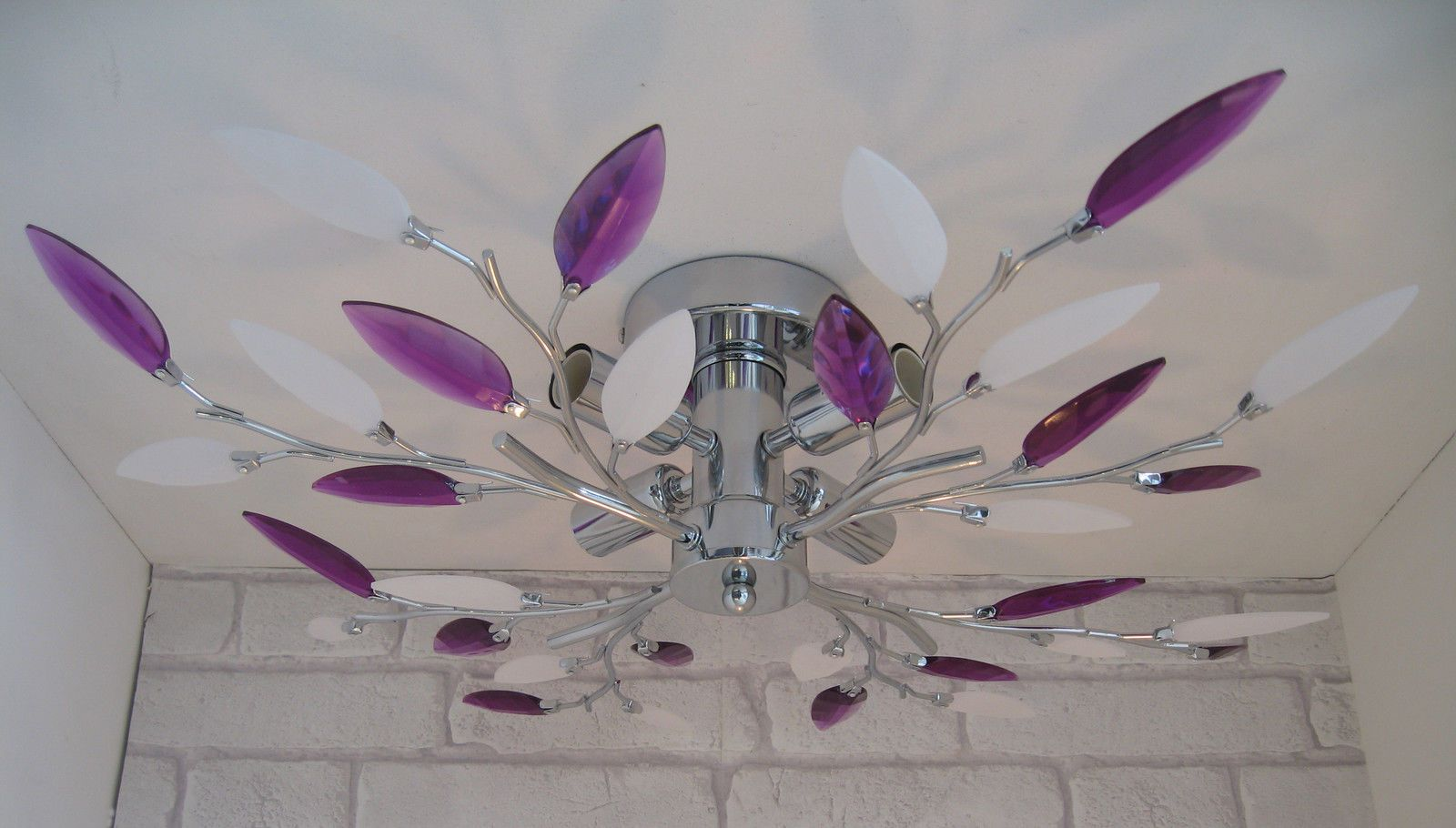 Flush Fit 4 Arm Bulb Leaf Ceiling Light Lamp Fitting Chandelier Chrome Purple   eBay