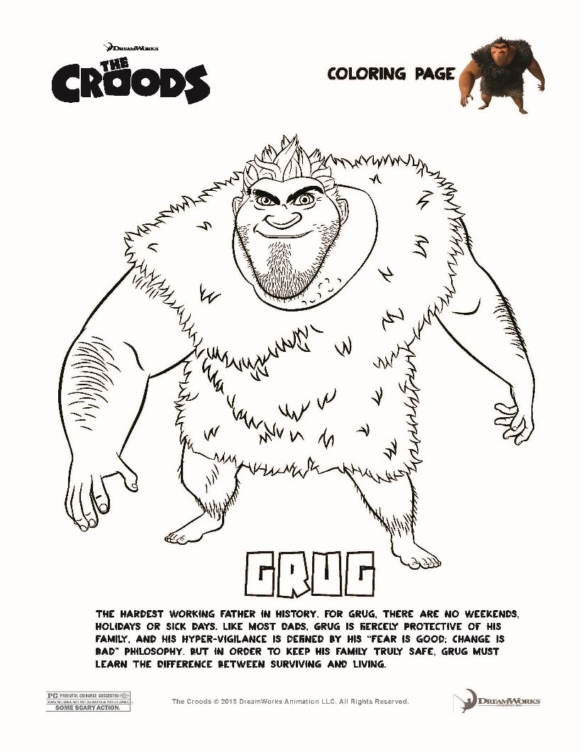 The Croods Coloring Pages Grug Croods Coloring Pages Coloring Book Pages Kids Coloring Books