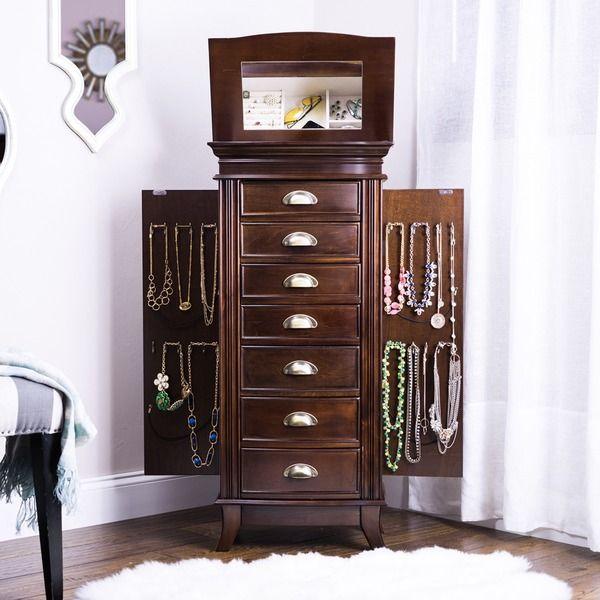 Hives Honey Hillary Dark Walnut 7drawer Jewelry Armoire