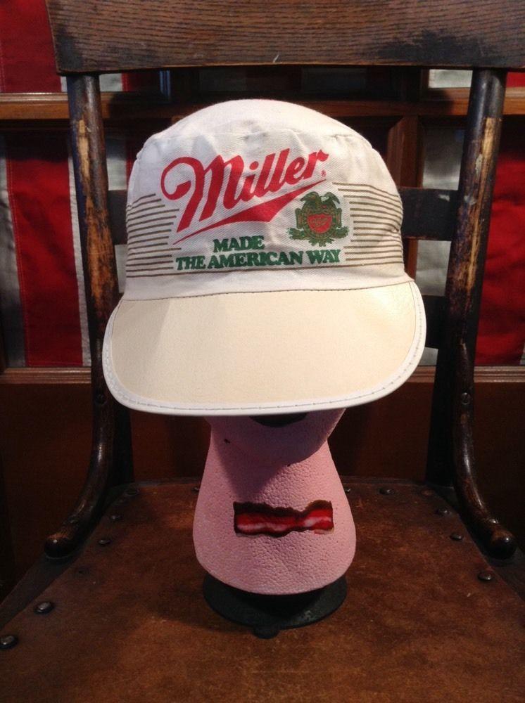8f38b6b7 Vintage MILLER BEER Made The American Way Painters Truckers Cap Hat Elastic  #BaseballCap