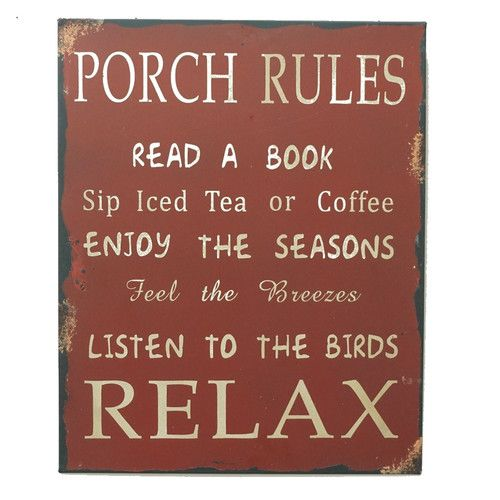 Found it at Wayfair - 'Porch Rules' Metal Wall Décor