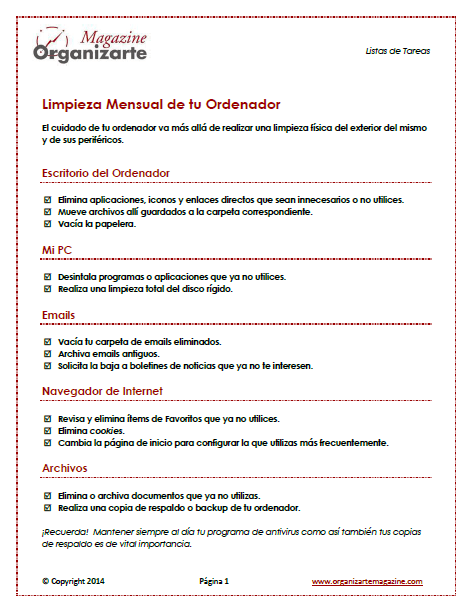Orden en la oficina lista b sica para la limpieza mensual de tu ordenador checklist - Orden y limpieza en el hogar ...
