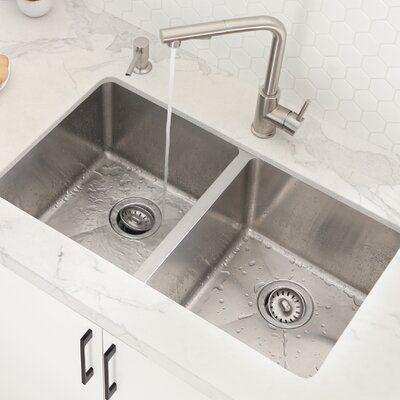 "Stylish 31"" x 18"" Double Basin Undermount Kitchen Sink with Basket Strainers | Wayfair.ca"