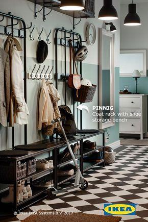 Pinnig Coat Rack With Shoe Storage Bench Black 76 Avec Images