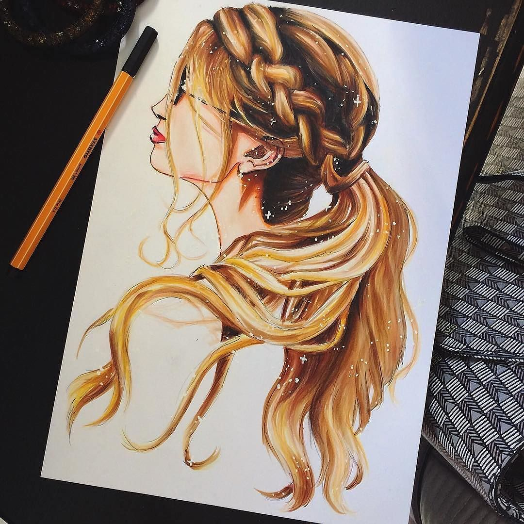 Hair color pencil drawing
