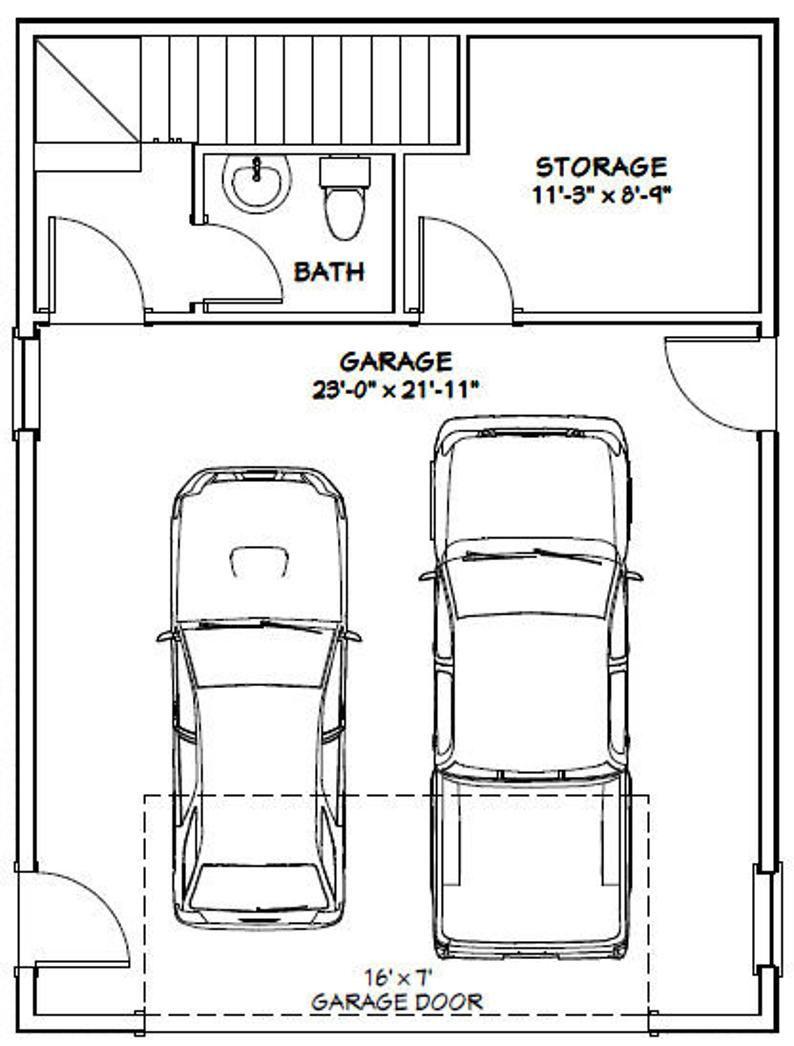 24x32 House 1 Bedroom 1 5 Bath 851 Sq Ft Pdf Floor Plan Instant Download Model 7d In 2020 Floor Plans Garage Plans With Loft Tiny House Floor Plans