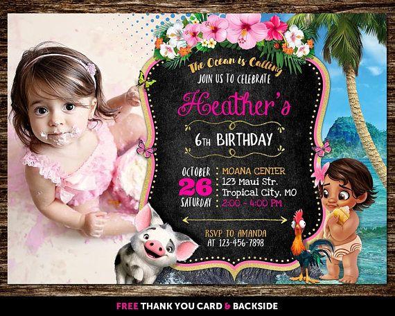 Moana Invitation With Photo Picture Birthday Mo