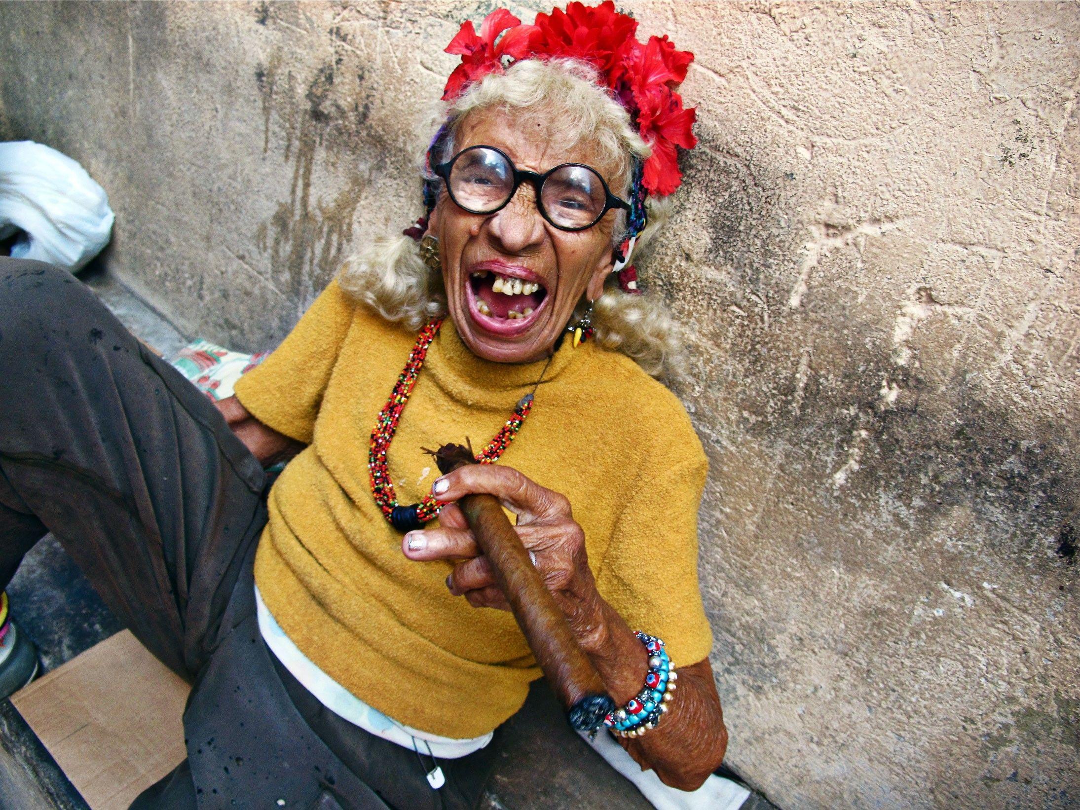 Old Cuban Lady Smoking Cigar