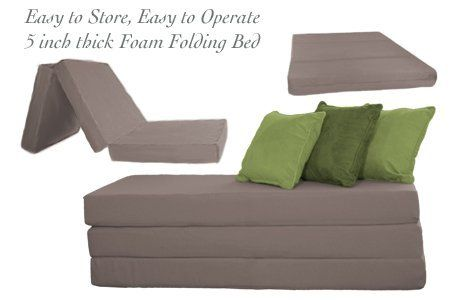 THE FUTON SHOP 5 INCH SLEEPER CHAIR FOLDING FOAM BEDS CUSHION DOUBLE GREY  By The Futon