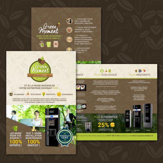 Communication Globale Green Moment Apres La Charte Globale Le Site Internet Les Reseaux Sociaux Et La Creation Flyer Distribution Automatique Plaquette