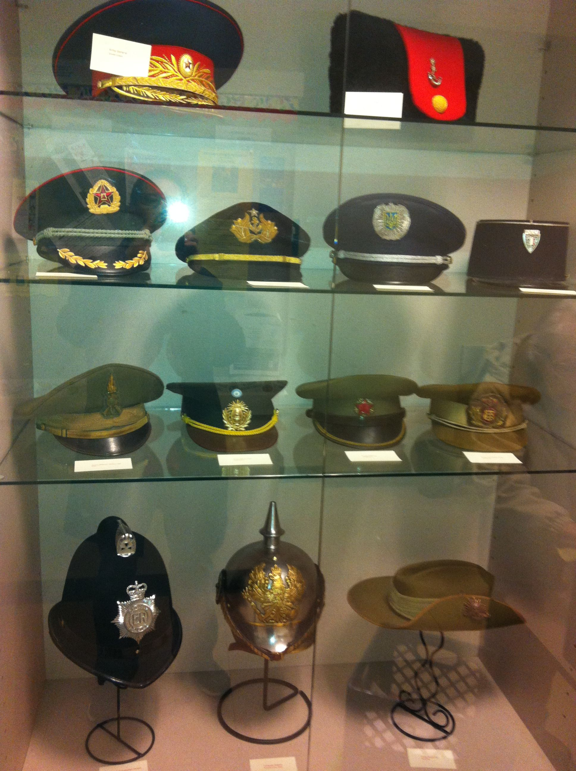 Several Of The Hats In My Collection On Display At The Local Public Library Military Hat Hats Collection