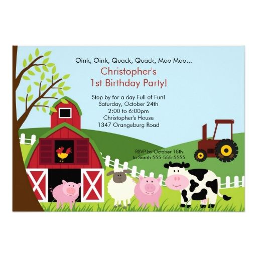 photo barnyard animal fun birthday party card barnyard animals
