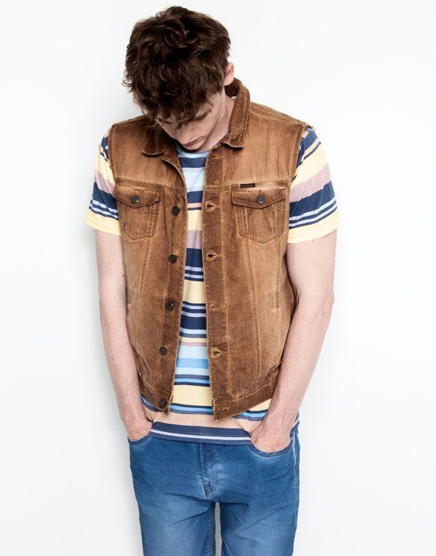 Pull&Bear - man - jackets - denim waistcoat - blue - 05774543-V2014