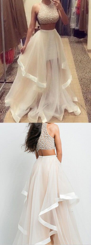 2 Piece Beading Prom Dress, Long Formal Dresses,Ball Gown Prom Dresses