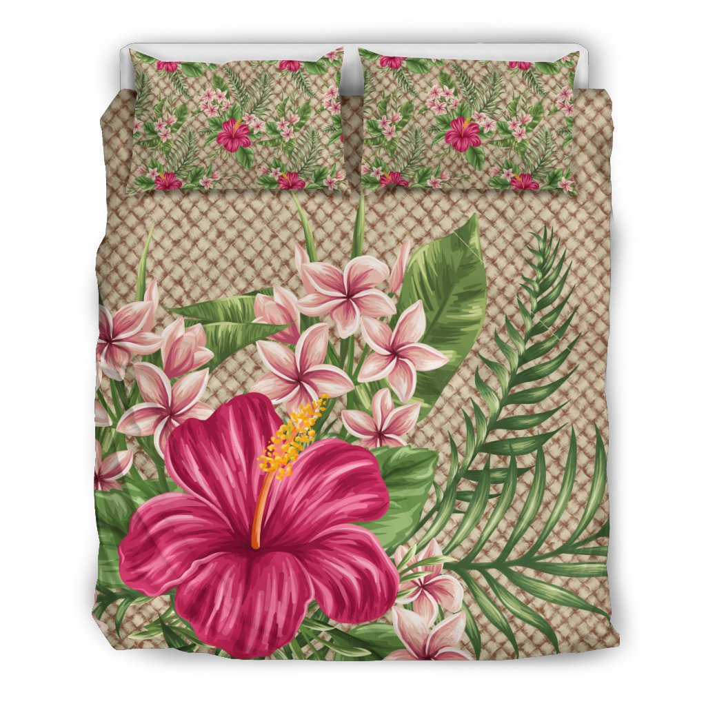 Hawaiian Hibiscus Plumeria Palm Leaves Lauhala Background Polynesian Bedding Set Ah A0 Tropical Duvet Cover Bedding Set Bedding Sets