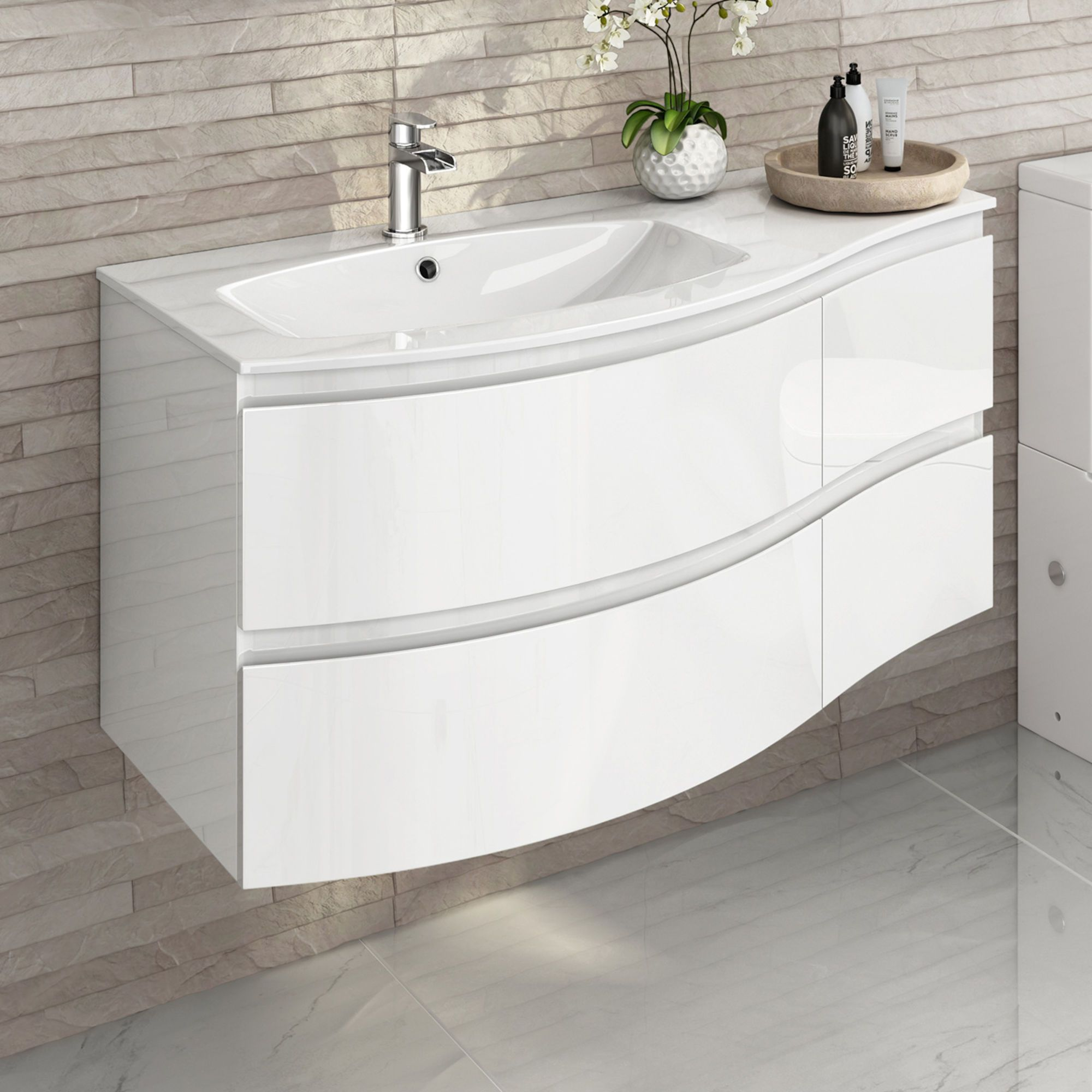 1040mm Amelie High Gloss White Curved Vanity Unit Left Hand