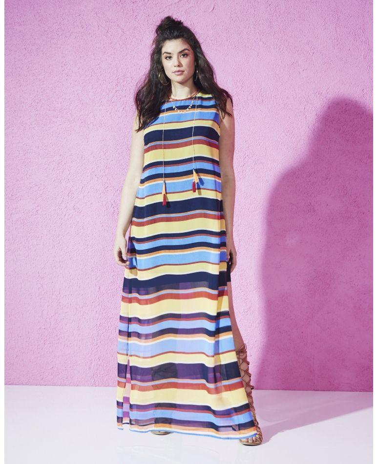 Plus Size Fashion | Stripe Side-split Maxi Dress (plus size) #plussizefashion #dress #summer