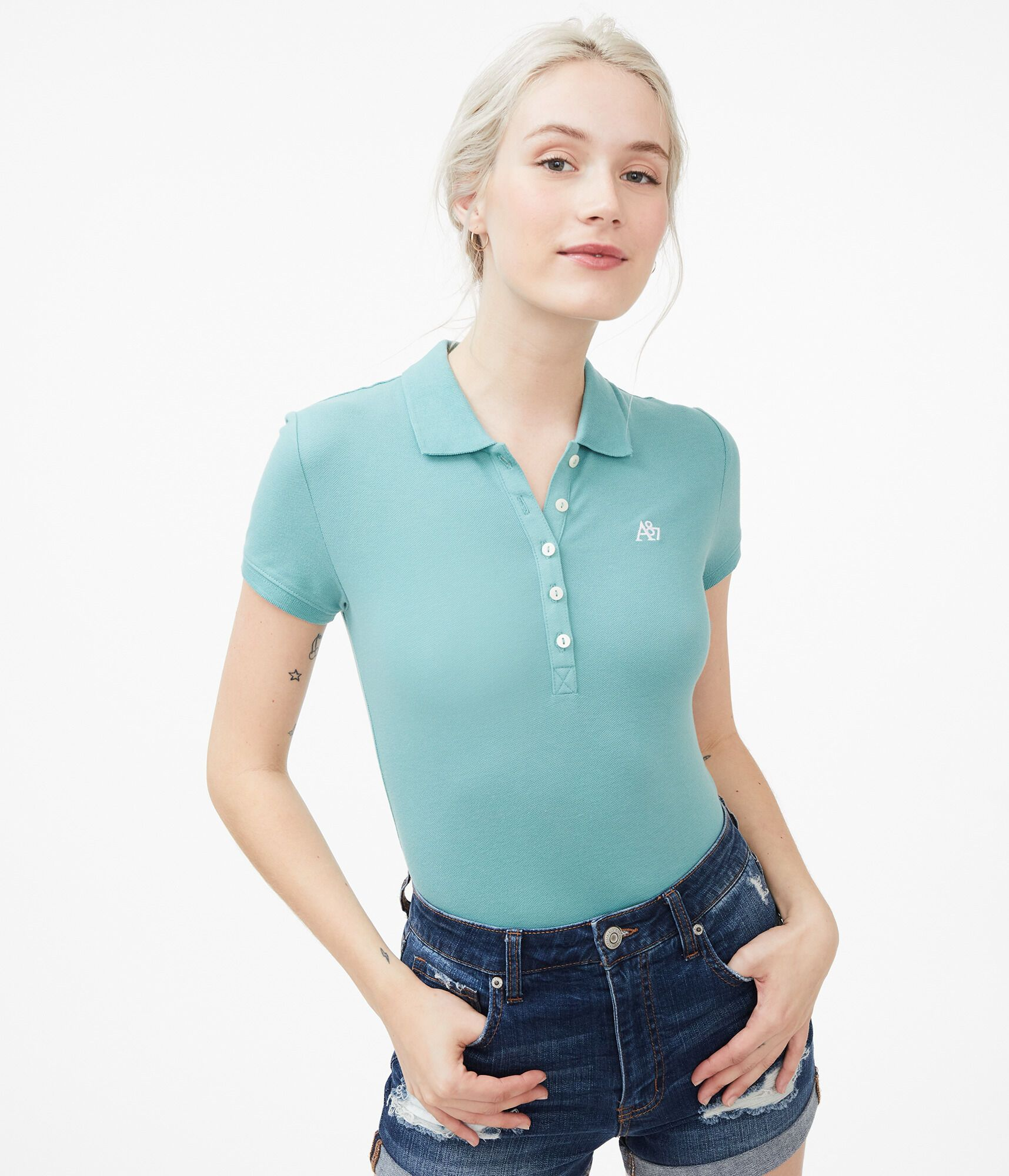 Polos - For a polished, preppy look, nothing beats this comfy piqué polo. - female - Cotton