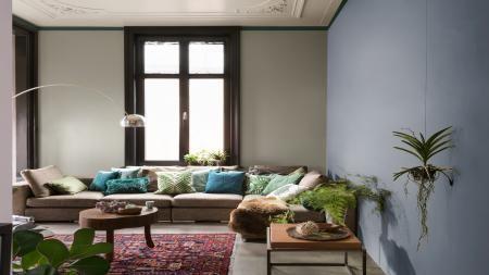 Afbeeldingsresultaat voor gekleurde muur met raam in woonkamer ...