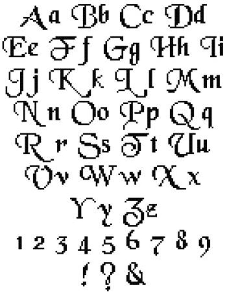 Set of Cross Stitch Alphabet Patterns Cursive Alphabet
