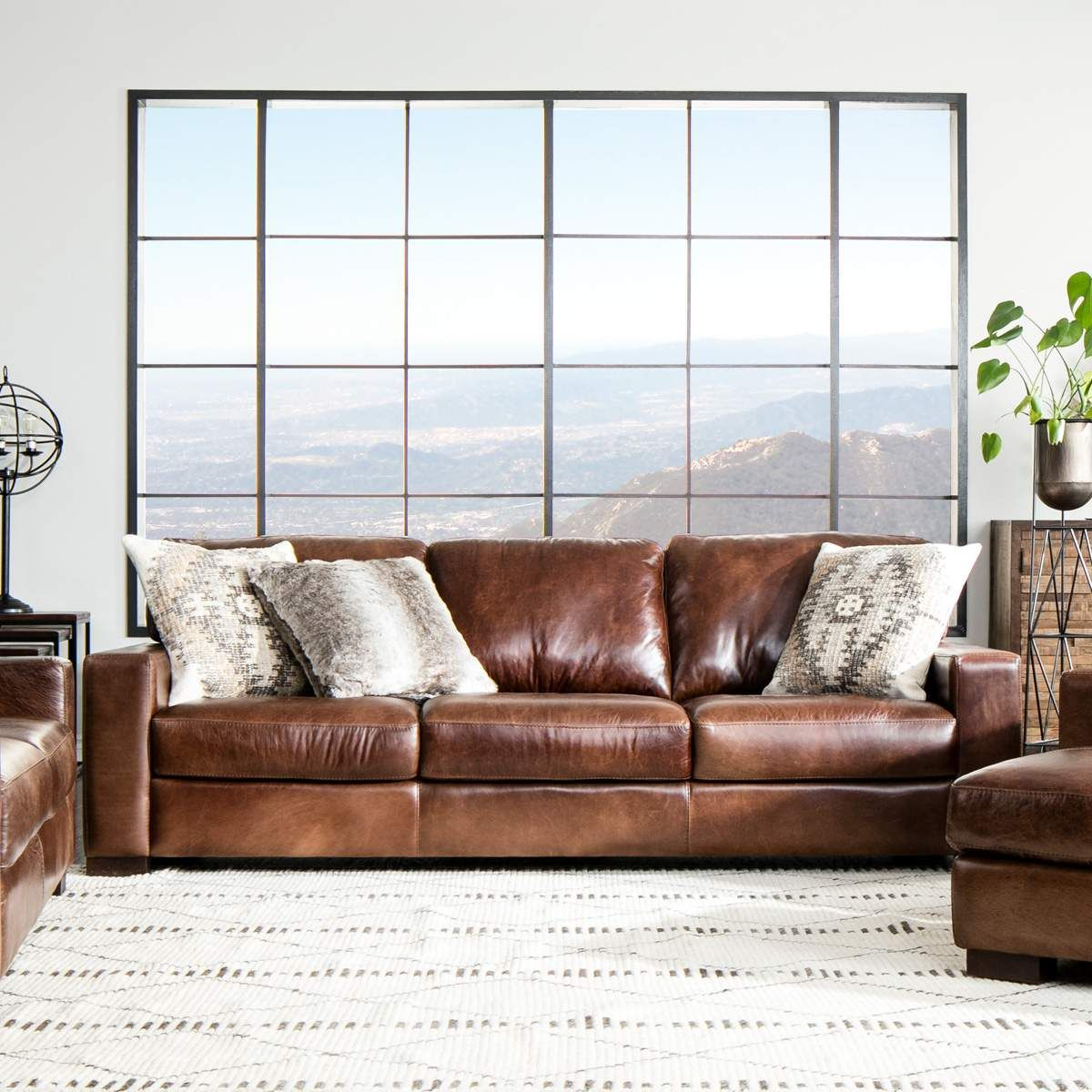 The Handsome Landmark Brown Leather Living Room Set Is Distinguished By Its Comfortable Desi With Images Living Room Leather Top Grain Leather Sofa Leather Living Room Set
