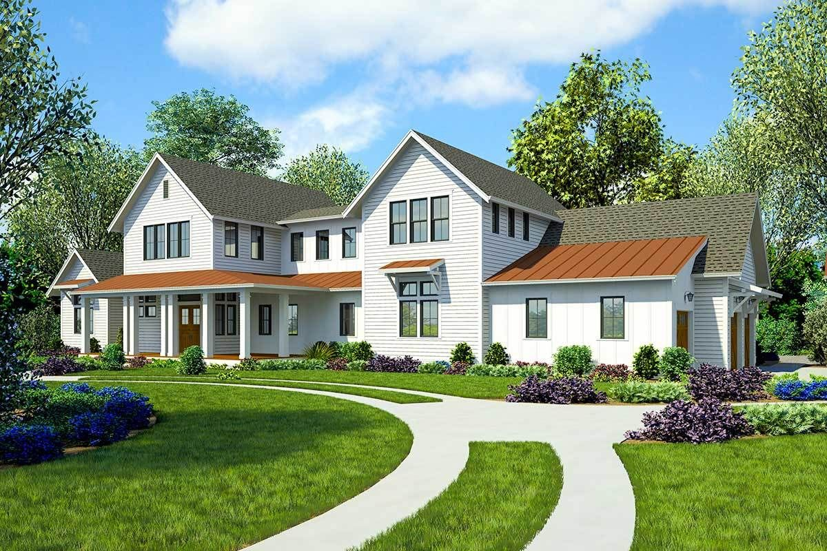 Plan 23782jd Sprawling Modern Farmhouse Plan With First Floor Master Farmhouse Plans Open Concept House Plans Modern Farmhouse Plans