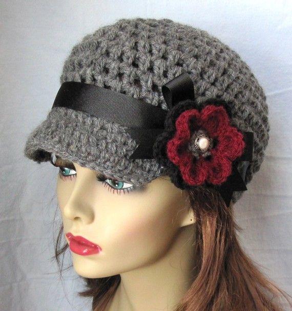Crochet Hat Newsboy, Charcoal Grey Black Ribbon, Burgundy, Pearl ...