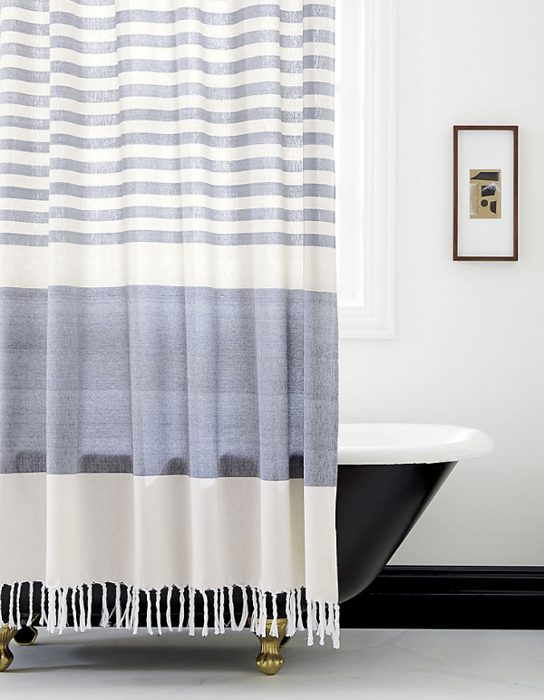 Stripe Tassel Shower Curtain