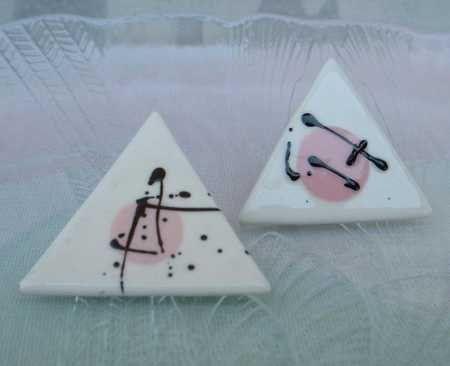 Pink Triangular Ceramic Earrings Japanese Symbol Post Style Vintage Jewelry