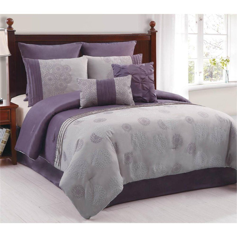 Amelle Purple Grey 8 Piece King Comforter Bed In A Bag Set