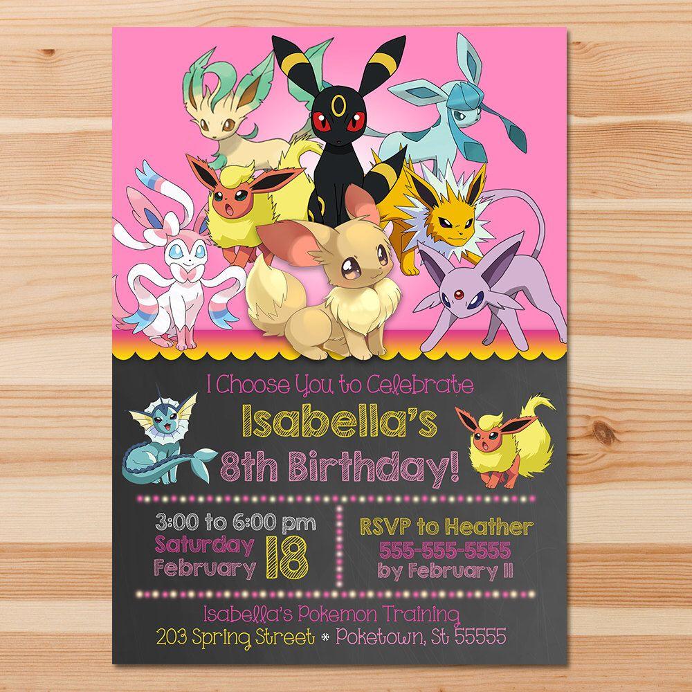 Pokemon Anniversaire Invite Evolutions D Evoli Tableau Rose Fille Pokemon Evoli Invitation Pokemon Party Pokemon Party Invitations Pokemon Invitations