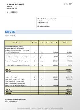 Idee Exemple De Devis Auto Entrepreneur Btp Exemple Devis Entrepreneur Modele Devis Auto Entrepreneur