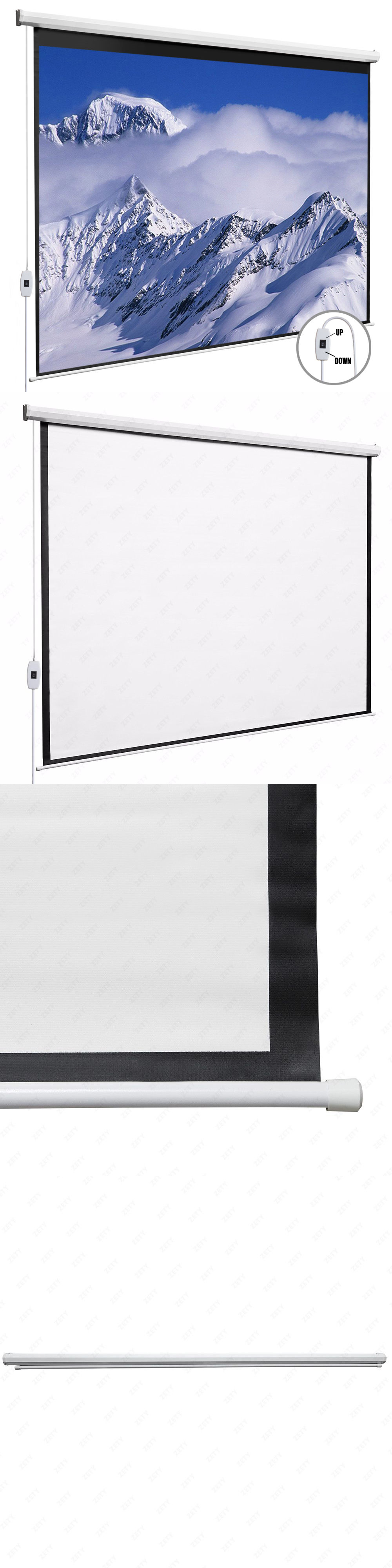 Projection Screens and Material: 100\'\'Electric Pull Down Projection ...