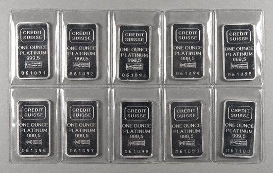 Credit Suisse Platinum Bars Credit Swiss 1 Oz 9995 Platinum Platinum Rare Stamps Palladium