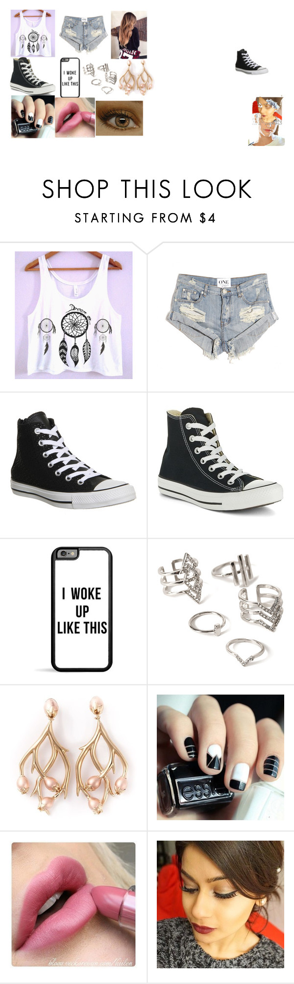 """""""hanging out with the magcon boys"""" by lillilykitty ❤ liked on Polyvore featuring One Teaspoon, Converse, Forever 21 and Shaun Leane"""