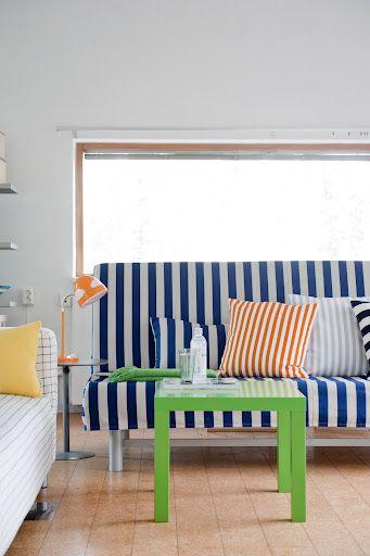 Ikea Beddinge Sofa Bed Cover In Stockholm Stripe Deep Navy Blue Cushion Covers In Gotland Stripe Mandarin Orange Gotland Stripe Silver Grey And Stockholm Stri