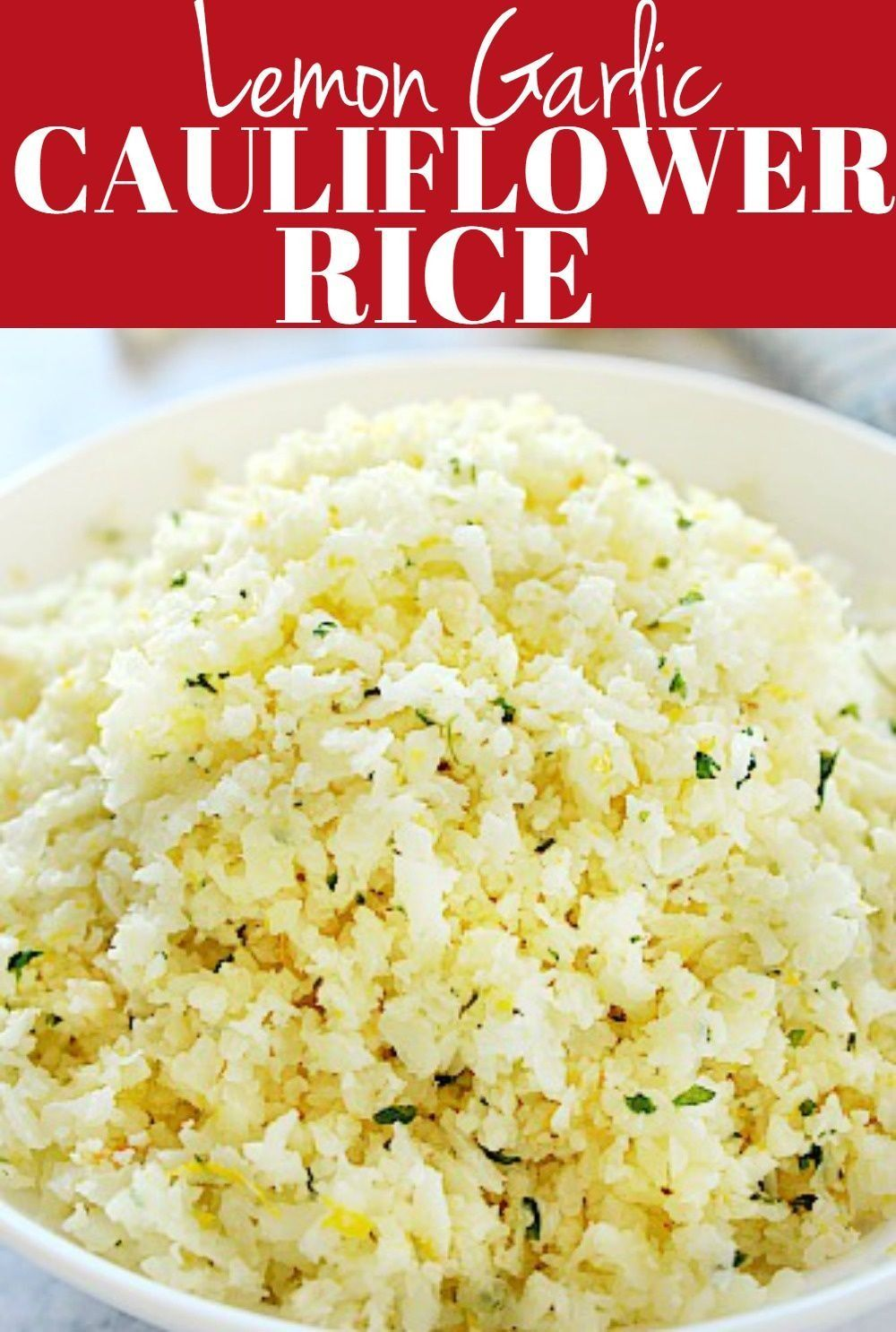 This Lemon Garlic Cauliflower Rice is made with just 4 ingredients Perfect lowcarb side dish thats bursting with flavor