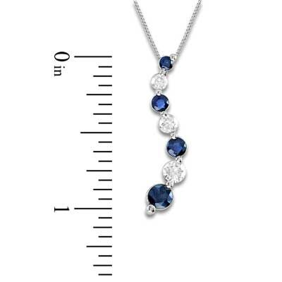 Blue sapphire and 38 ct tw diamond journey pendant in 14k blue sapphire and 38 ct tw diamond journey pendant in 14k white gold aloadofball Gallery