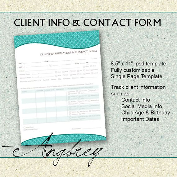 Client Info \ Contact Form for Photographers Client by Angbrey - client information form template
