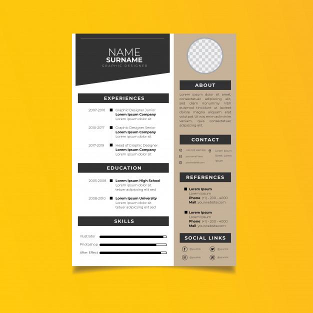 Professional resume template minimalist style. Vector