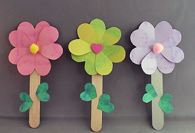 Heart flowers manualitats pinterest flower craft and kids s icecream stick crafts for kids mightylinksfo